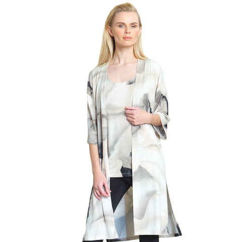 Clara Sunwoo Watercolor Kimono Duster - Taupe/Multi - CA62P-TPE - Size L Only