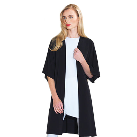 Clara Sunwwoo Open Front Cardigan with Kimono Sleeves in Black - CA64-BLK