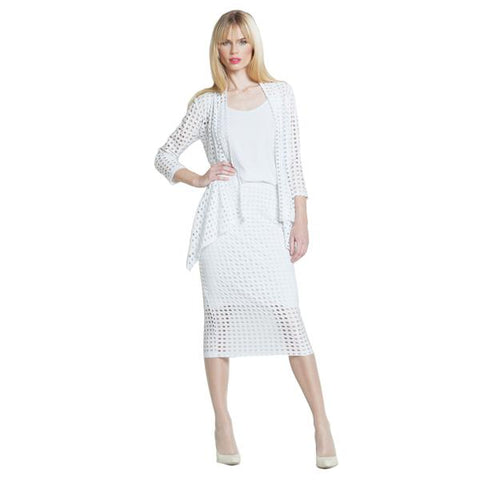 Clara Sunwoo Perforated Knit Skirt in White - SK34-WHT - Sizes S Only