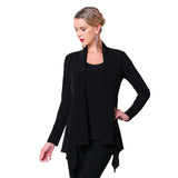 Clara Sunwoo Soft Knit Tunic Length Cardigan in Black - CA77