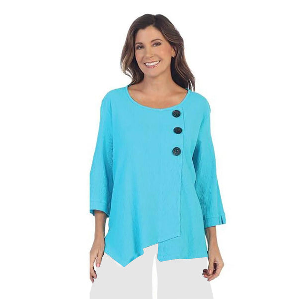 Focus Skinny Ribbed Cotton Tunic in Turquoise - CG-102-TQ