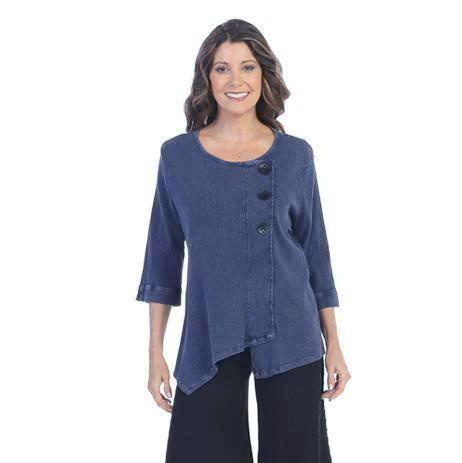 Focus Textured Point Hem Tunic in Denim Blue - CG-102-DN