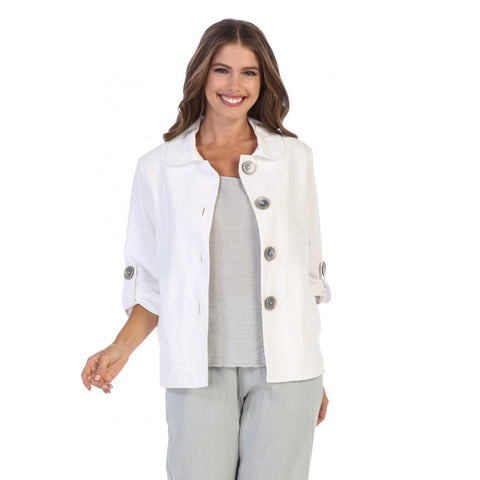 Focus Fashions Casual 3/4 -Sleeve Jacket w/Deco Buttons - CH-206-WHT