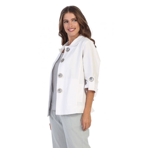 Focus Casual Half-Sleeve Jacket w/Deco Buttons - CH-206-WHT