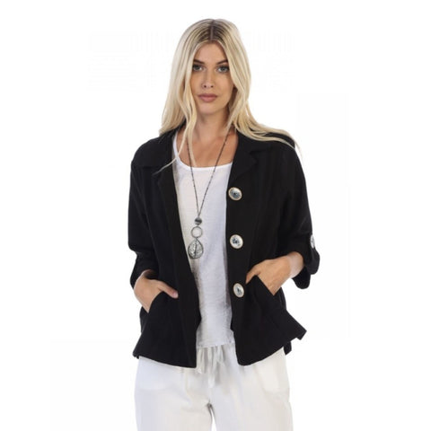 Focus Casual Half-Sleeve Jacket w/Deco Buttons - CH-206-BLK