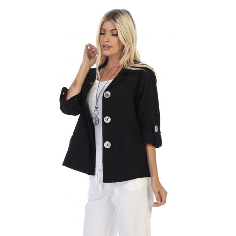 Focus Half-Sleeve Button Front Jacket in Black - CH-206-BLK - Sizes S Only