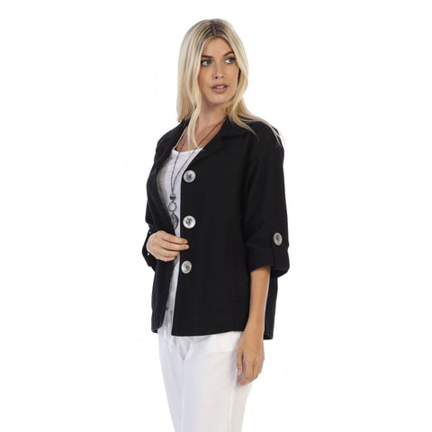 Focus Fashions Casual 3/4 -Sleeve Jacket w/Deco Buttons - CH-206-BLK