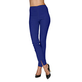 Mesmerize Pants with Front Ankle Slits and Front Zipper in Royal Blue- MA21-ROYB
