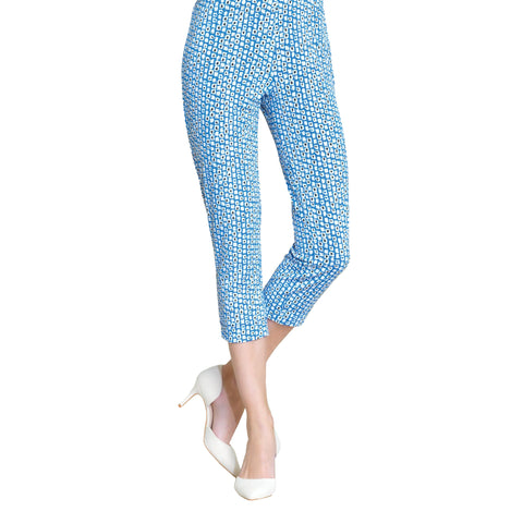 Clara Sunwoo Mini Square Print Pull On Capri - Blue/White - CP1P2-BL - Size XS Only
