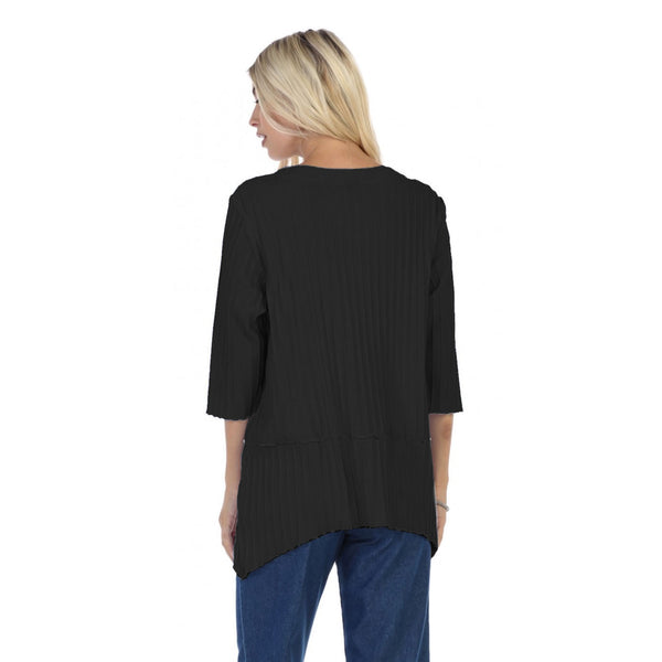 Focus Fashion Ribbed Pocket Tunic Top in Black - CS-303-BLK
