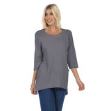 Focus Fashion Ribbed Pocket Tunic Top in Graphite - CS-303-GRPH - Size S Only