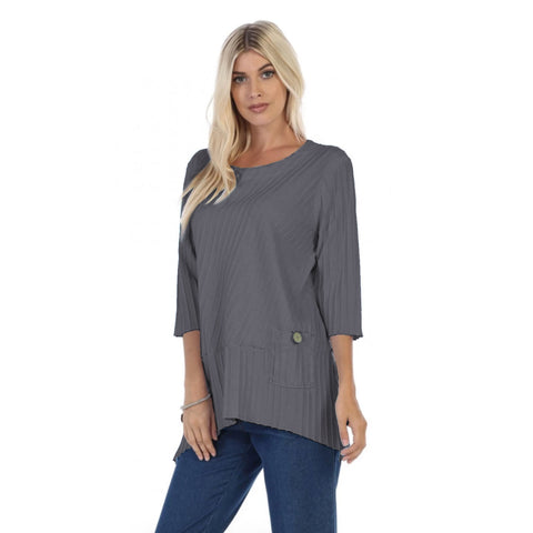 Focus Fashion Ribbed Pocket Tunic Top in Graphite - CS-303-GRPH