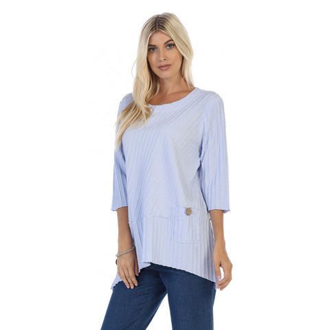 Focus Ribbed Pocket Tunic in Sky - CS-303-SKY - Size S Only