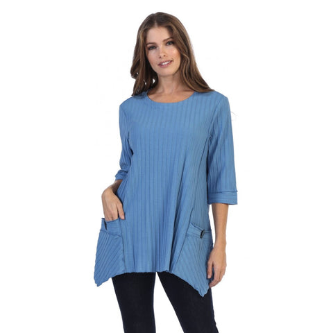 Focus Fashion Pocket Front Tunic in Blue - CS-330-BL