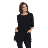 Focus Fashion Pocket Front Tunic in Black - CS-330-BLK