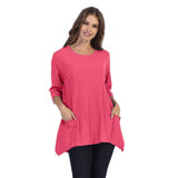 Focus Patch-Pocket Ribbed Tunic in Pink - CS-330-PNK