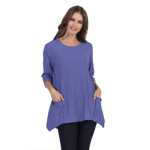 Focus Patch-Pocket Ribbed Tunic in Violet - CS-330-VIO