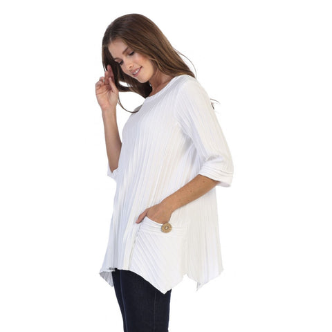 Focus Fashion Pocket Front Tunic in White - CS-330-WHT