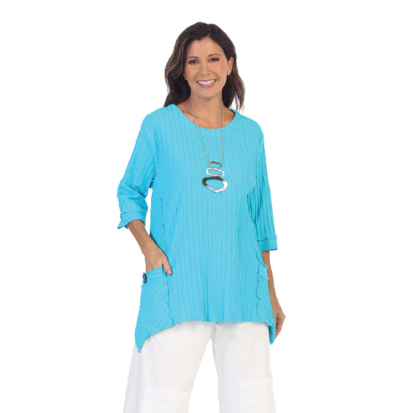 Focus Fashion Pocket Front Tunic in Turquoise - CS-330-TRQ - Size M Only