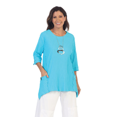 Focus Fashion Pocket Front Tunic in Turquoise - CS-330-TRQ