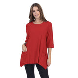 Focus Cotton Ribbed Patch-Pocket Tunic in Brick Red - CS-330-BRK