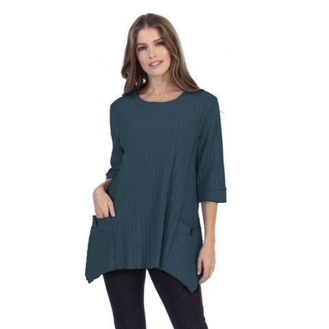 Focus Patch-Pocket Ribbed Tunic in Dark Teal - CS-330-DTL