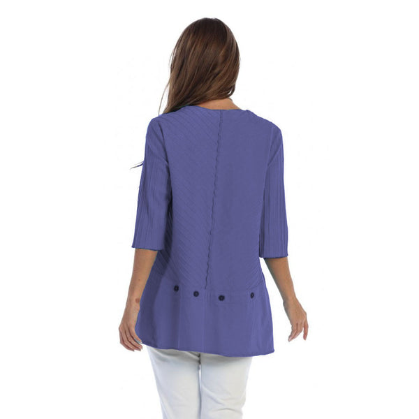 Focus Fashion Ribbed Texture Tunic in Violet - CS-342-VIO - Sizes S & M Only