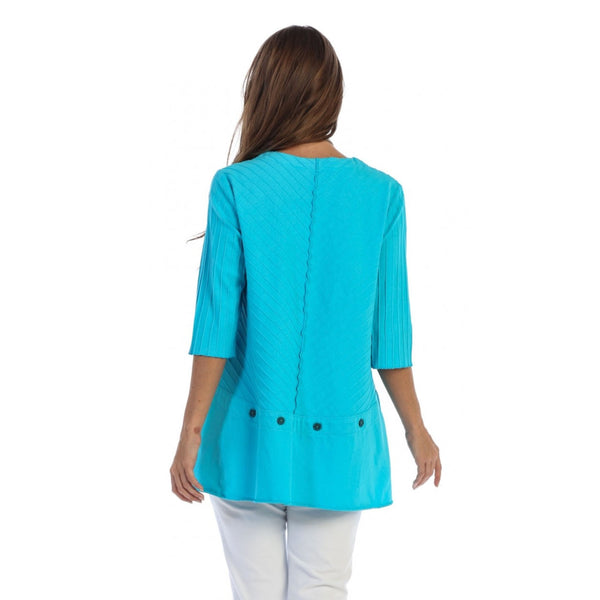 Focus Fashion Ribbed Texture Tunic in Turquoise - CS-342-TRQ