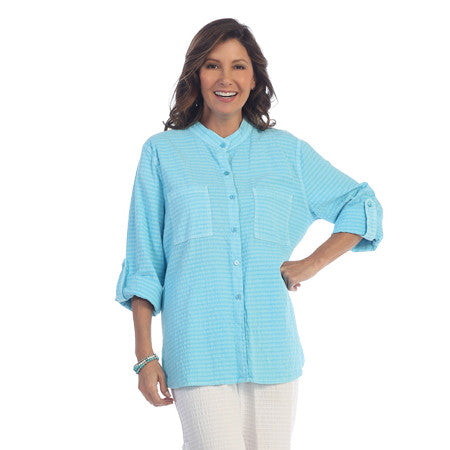 Focus Fashions Roll-up Sleeve Shirt in Angel Blue - CS-117AGBL