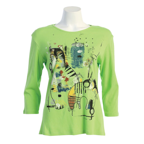 "Jess & Jane ""Cat News"" Abstract Print Top in Lime - 14-1536"