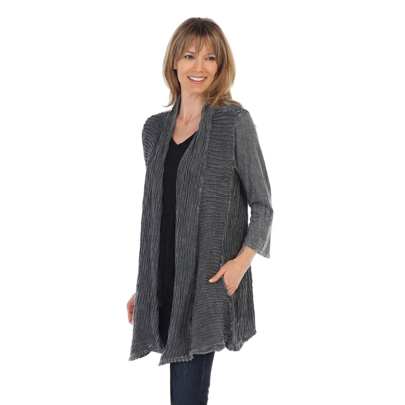 Jess & Jane Open Front Cardigan in Charcoal - M57-CCL