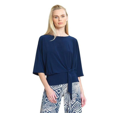 Clara Sunwoo Solid Soft Knit Side Tie Top in Navy - T207-NVY