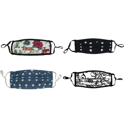 Style-Rite Adjustable Masks 4 Pack - Floral, Swirl & Polka Dot Prints