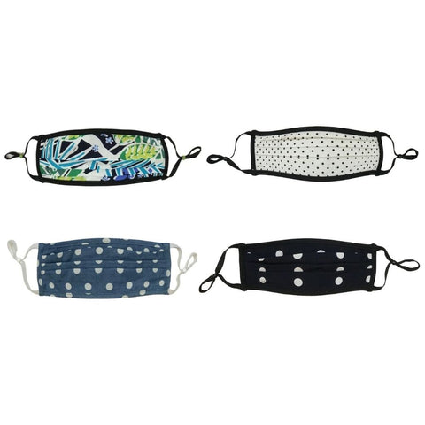 Style-Rite Adjustable Masks 4 Pack - Tropical & Polka Dot Prints
