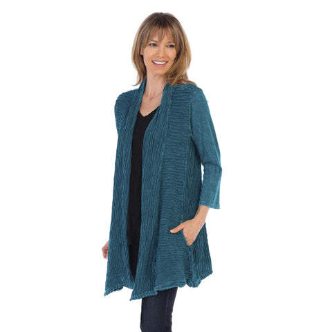 Jess & Jane Open Front Cardigan in Cypress - M57-CYP - Sizes M, L, 1X & 3X