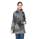 Damee Geo-Shaped Colorblock Sweater Knit Jacket in Grey/Multi - 4572-GRY - Size M Only