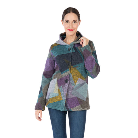 Damee Geometric Jacket w/Hood in Purple/Multi  4582-PRP - Sizes M & XL