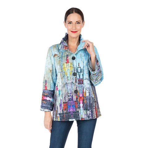 Damee NY Button Front Printed Quilt Jacket in Sky/Multi -  4585-SKY - Size M Only