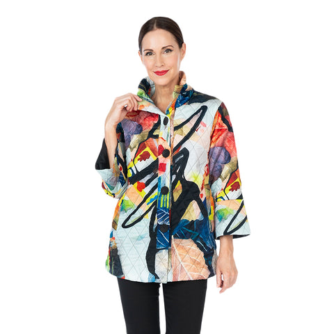 Damee NY Button Front Printed Quilt Jacket in Coral/Multi  4589-CRL