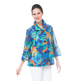Damee Abstract-Print Jacket in Blue/Multi - 4689-BLU