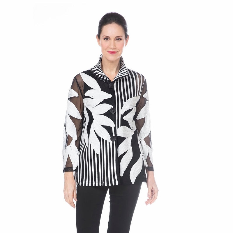 Damee Leaf & Stripe Soutache Jacket in White - 2349-WT