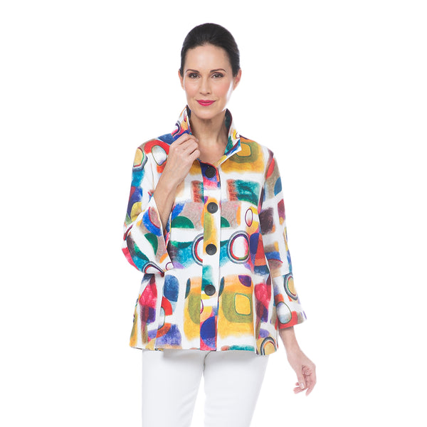 Damee Multicolor Abstract-Print Button Front Jacket - 4692-WHT