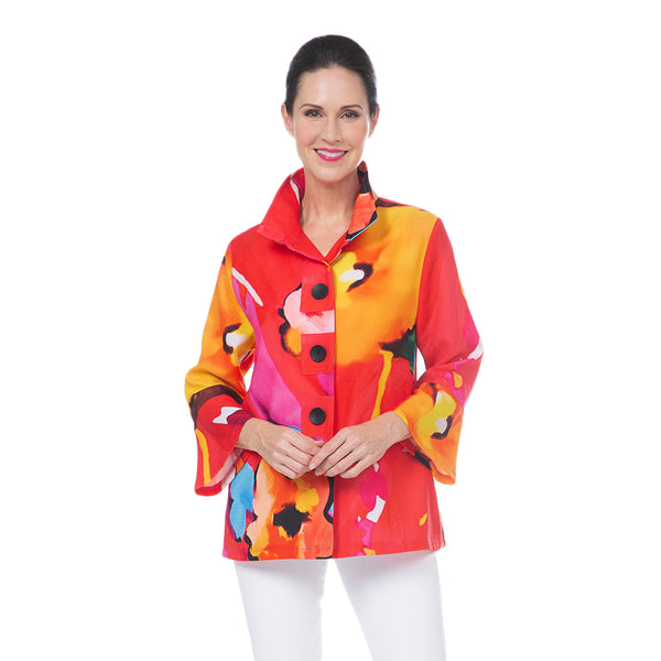 Damee Floral Art Button Patch Jacket in Red - 4697-RED