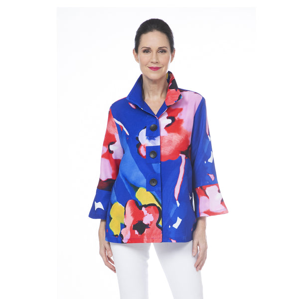 Damee Floral Art Button Patch Jacket in Blue - 4697-BLU