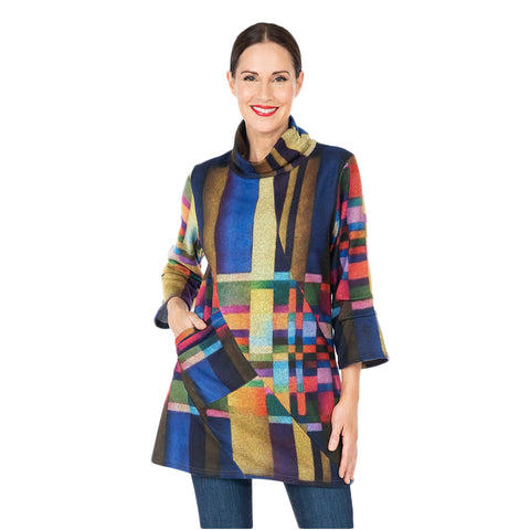 Damee Colorblock Knit Mock Neck Tunic in Multi - 9157-MLT