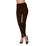 Mesmerize Pants with Front Ankle Slits and Front Zipper in Brown - MA21-BRN