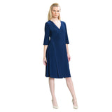 Clara Sunwoo Faux Wrap V-Neck Dress in Navy - DR11-NVY