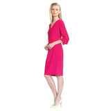 Clara Sunwoo V-Neck Soft Knit Ruffle Cuff Dress - Pink - DR208-PK