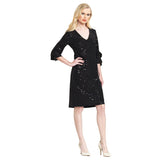 Clara Sunwoo Shimmer Ruffle Cuff V-Neck Dress - Black - DR208S