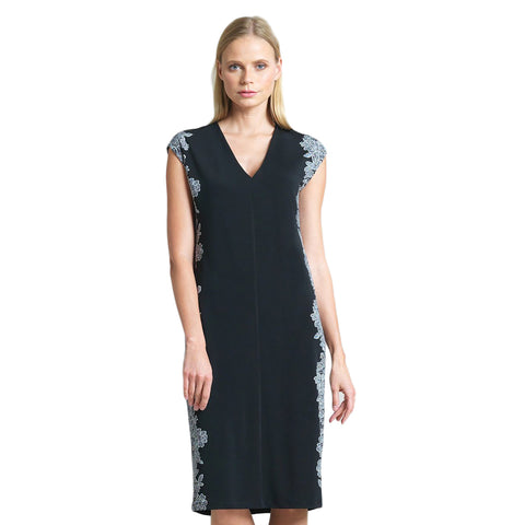Clara Sunwoo Lace Trim Print V-Neck Dress in Black - DR25P3-BLK